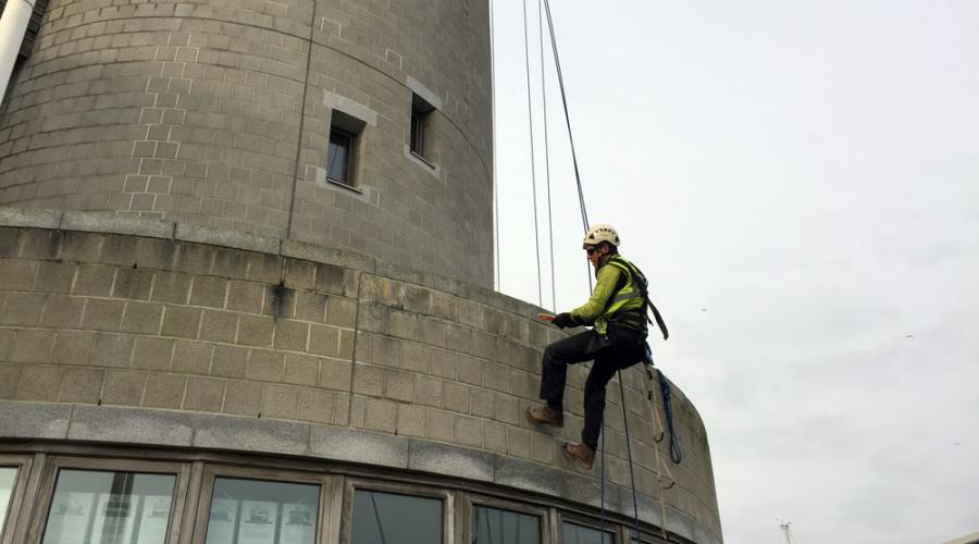 Rope Access - cleaning a Lighthouse